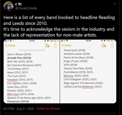 Reading/Leeds 2021 announce all male headliners : Lack of Female Talent or Blatant Sexism?