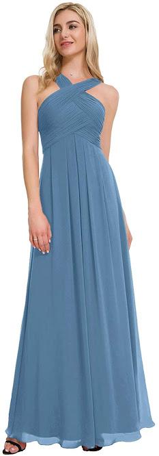 Dusty Blue Chiffon Bridesmaid Dresses