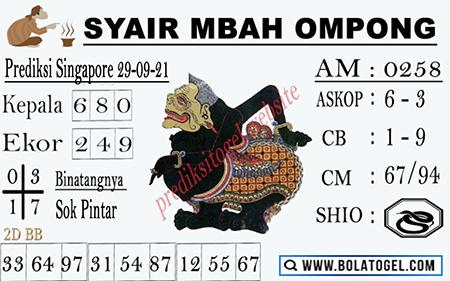 Syair Mbah Ompong SGP Rabu 29-09-2021
