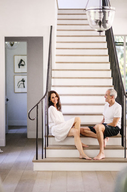 Homeowners on staircase in modern farmhouse - found on Hello Lovely Studio