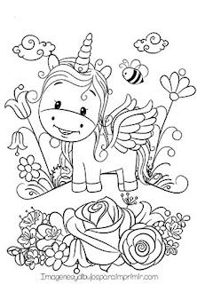 Colorear unicornio entre flores