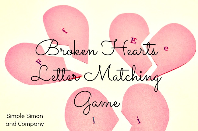 Broken heart letter matching game simple simon and company spiritdancerdesigns Images