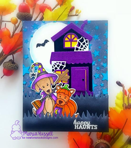 Newton's Nook Designs & Therm O Web Inspiration Week - Halloween card by Maria Russell | Happy Howloween Stamp Set by Newton's Nook Designs and Flock Transfer Sheets by Therm O Web #newtonsnook #thermoweb