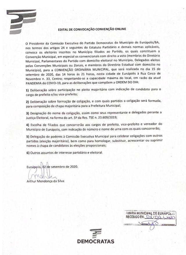 Eunápolis - Democratas convida filiados para Convenção Ordinária Municipal 21