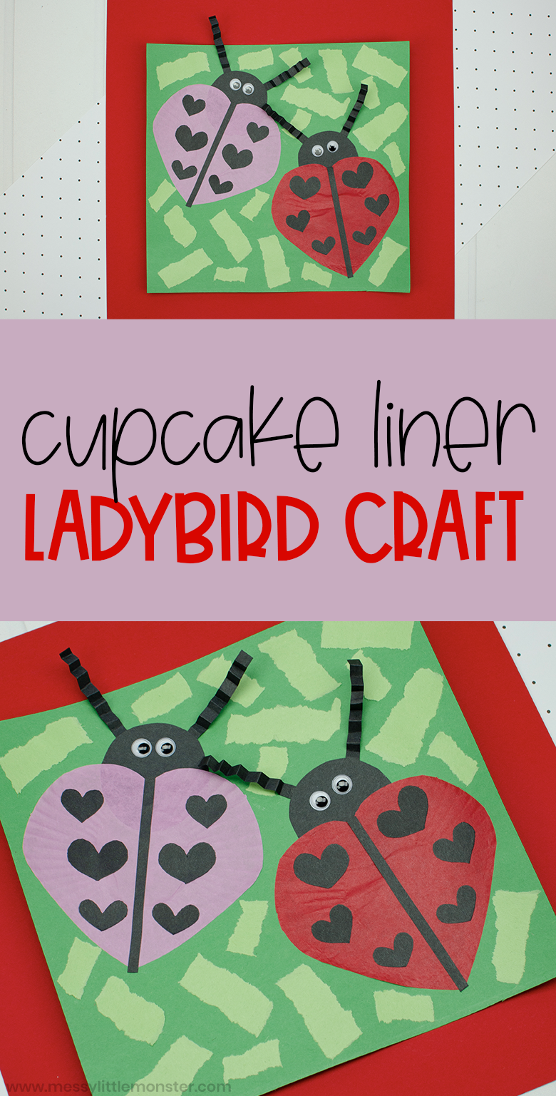 Cupcake liner ladybird craft for kids. A fun and easy ladybug paper craft for preschoolers and toddlers.
