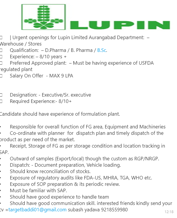 Lupin - Urgent Opening for Warehouse & Store - Pharma Growth