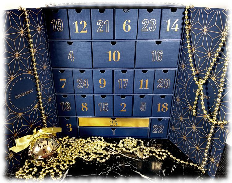 nside Lookfantastic Advent Calendar Box with christmas decorations