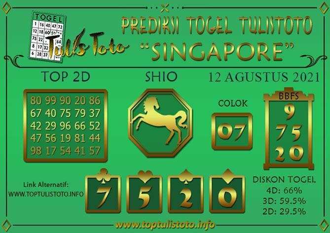 Prediksi Togel SINGAPORE TULISTOTO 12 AGUSTUS 2021