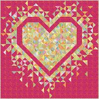 Exploding Heart quilt in the Kaffe Fassett Parakeet collection