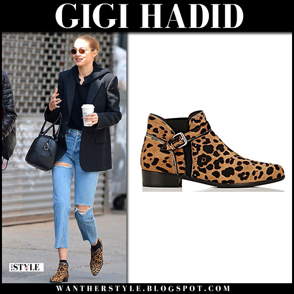 Gigi Hadid in brown leopard tabitha simmons ankle boots with Zayn model style april 29