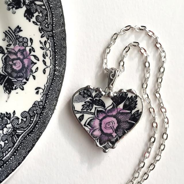 Black and white transferware heart pendant from Laura Beth Love