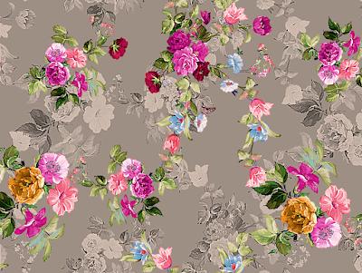 flower textile repeat 7057