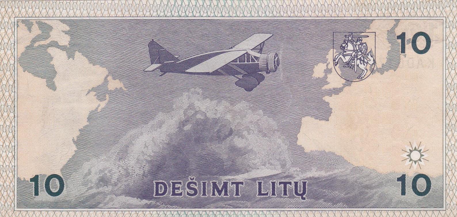 Lithuania 10 Litu banknote 1993 airplane