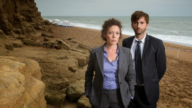 image of Olivia Colman and David Tennant in character on the beach from the show 'Broadchurch'