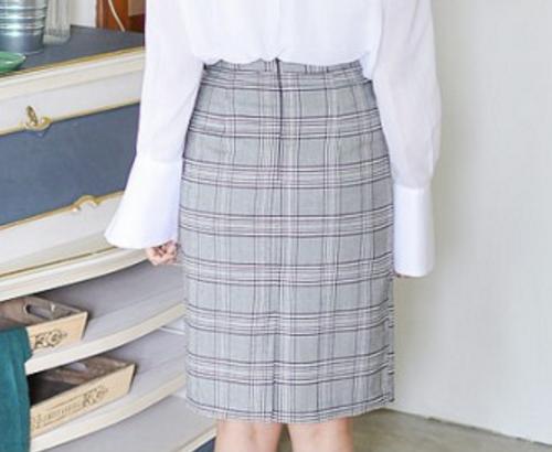 Plaid High-Waist Skirt