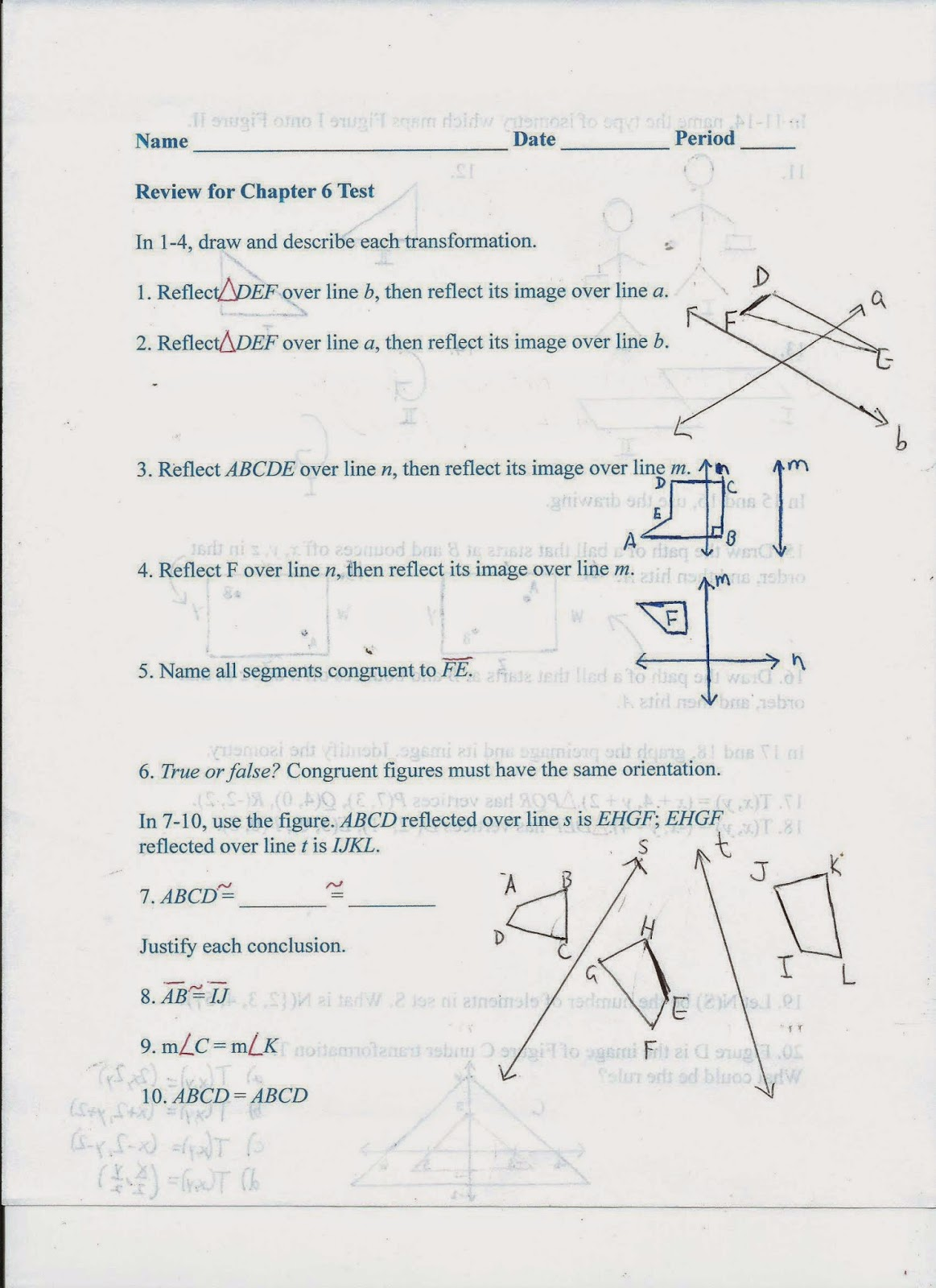 Geometry Common Core Style Review For Chapter 6 Test