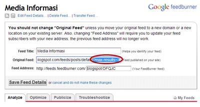 Tips Mengatasi error feedburner : feed file size is larger than 650K