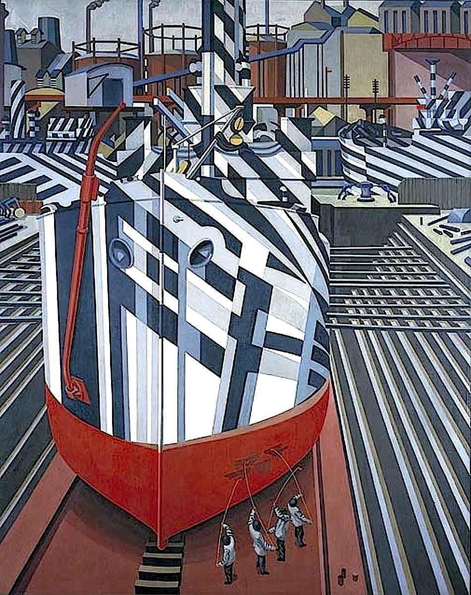 Edward Wadsworth art ... 1919 'dazzle camouflage' made war ships at sea harder to find