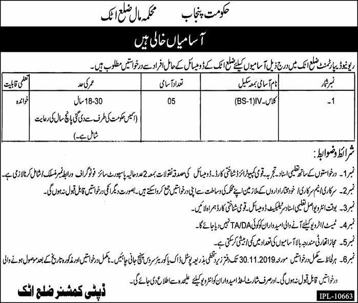 Jobs in Attock under Revenue Department (Darja Chahram)