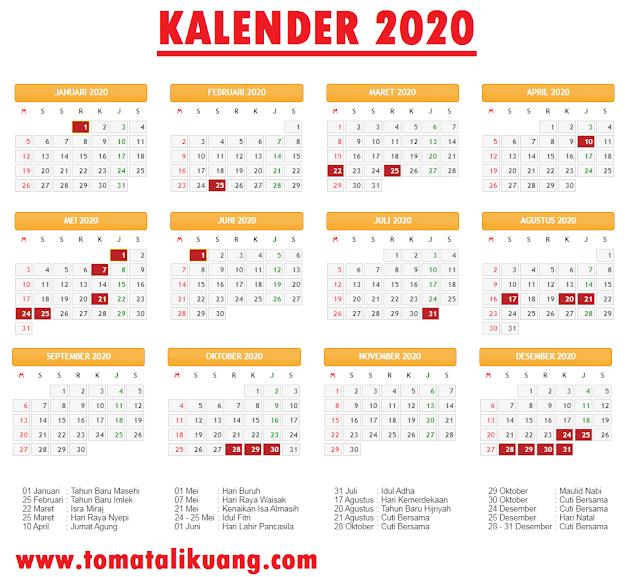 kalender 2020; hari libur nasional tahun 2020; cuti bersama tahun 2020; tomatalikuang.com