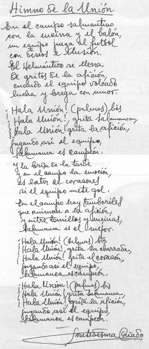 Letra original del Himno de la UDS