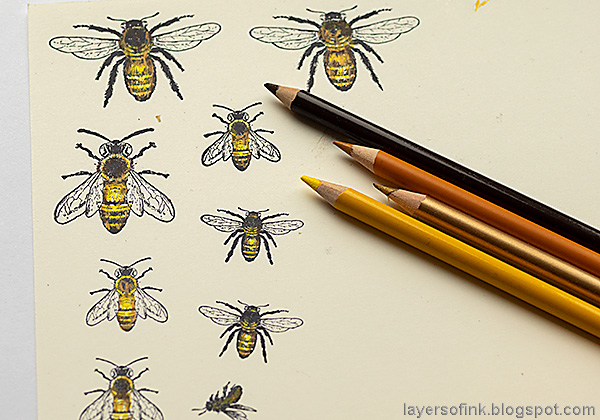 Layers of ink - Buzzing Bees Art Journal Page by Anna-Karin Evaldsson.