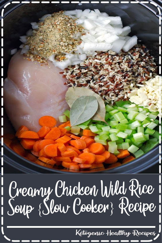 A cozy chicken wild rice soup made right in the slow cooker Creamy Chicken Wild Rice Soup {Slow Cooker} Recipe