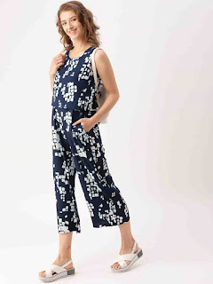 dress-berry-blue-printed-basic-jumpsuit