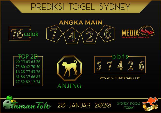 Prediksi Togel SYDNEY TAMAN TOTO 20 JANUARI 2020