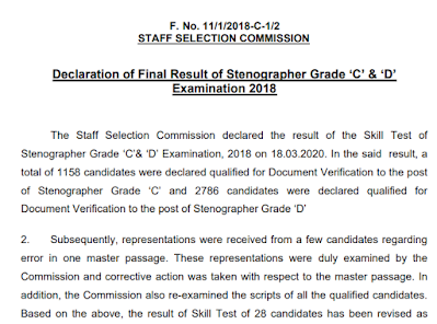 Stenographer Grade 'C' & 'D' Examination, 2018 Results Declared