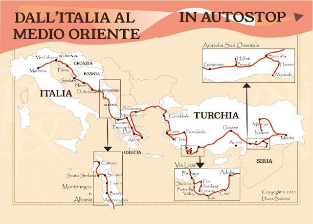 mappa itinerario autostop italia medio oriente