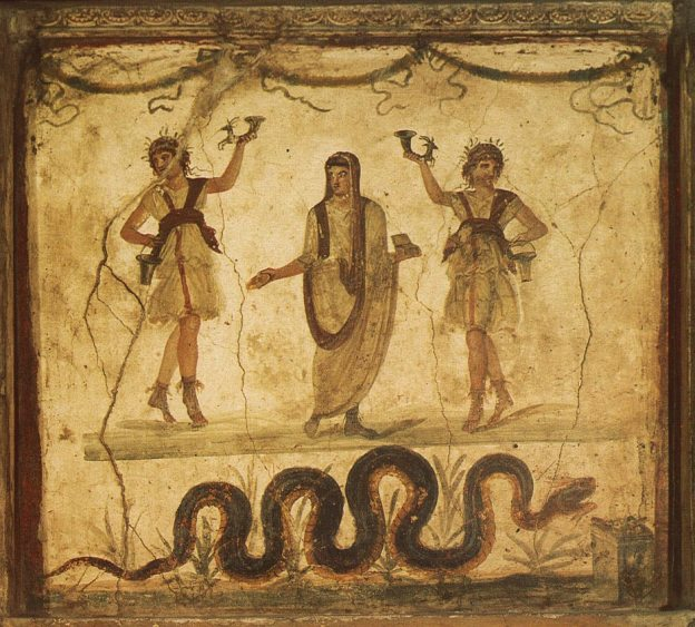 Photograph of a Roman Fresco depicting 3 figures, the central one being the spirit of the place. There is a snake at the bottom of the picture.