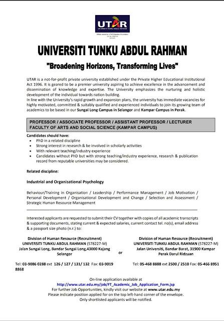 Jawatan Kosong Akademik di Universiti Tunku Abdul Rahman (UTAR)