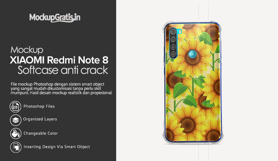 Mockup Softcase Anti Crack XIAOMI RedMi Note 8 Gratis PSD File