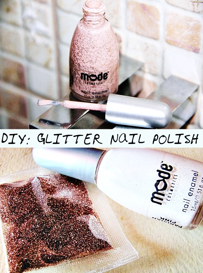 DIY Rose gold glitter nail polish