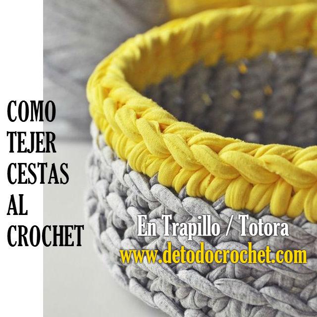 dos modelos de cestas para tejer al crochet