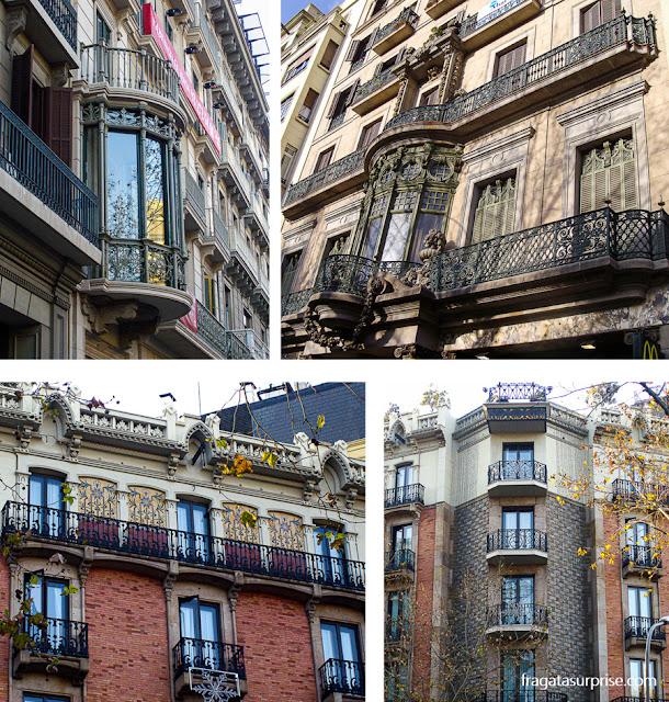 Fachadas modernistas no Eixample, em Barcelona