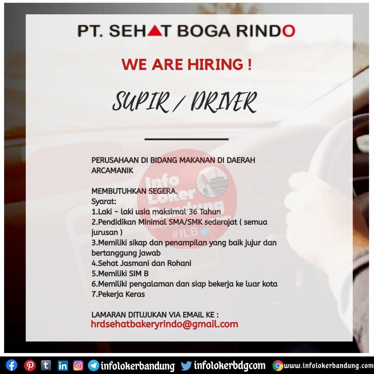 Lowongan Kerja Supir PT. Sehat Boga Rindo Bandung November 2020