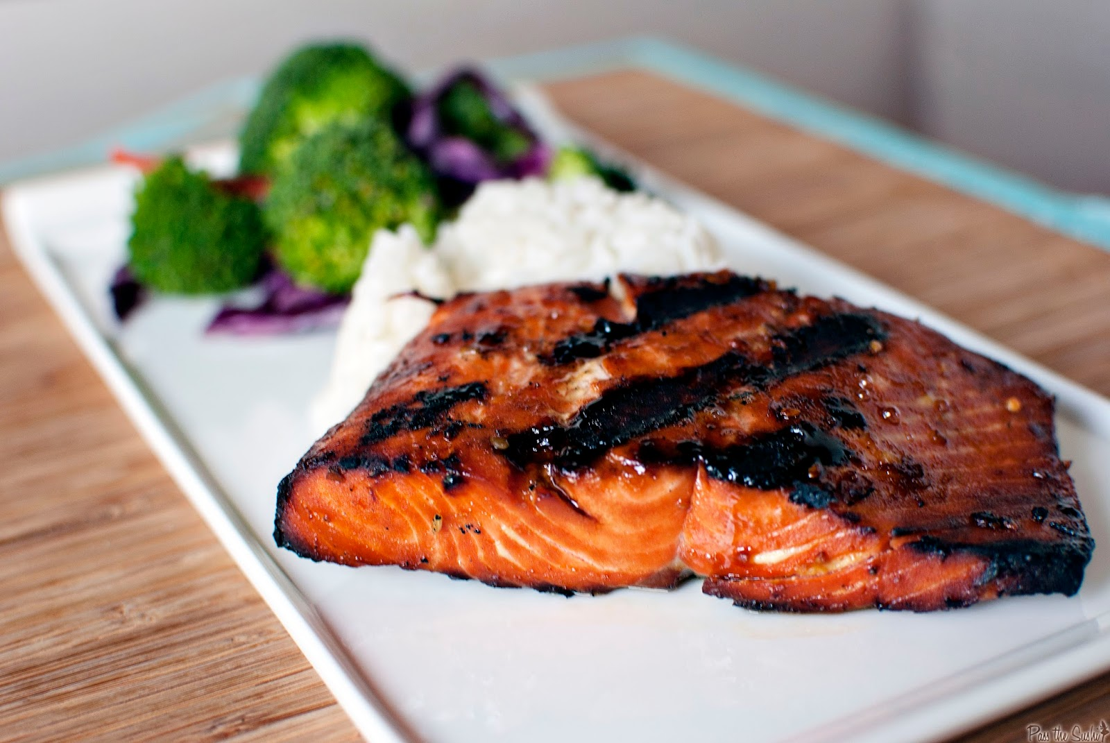 Grilled Salmon, Courgettes & Apricot Jam with Lemon Herb White Wine Sauce