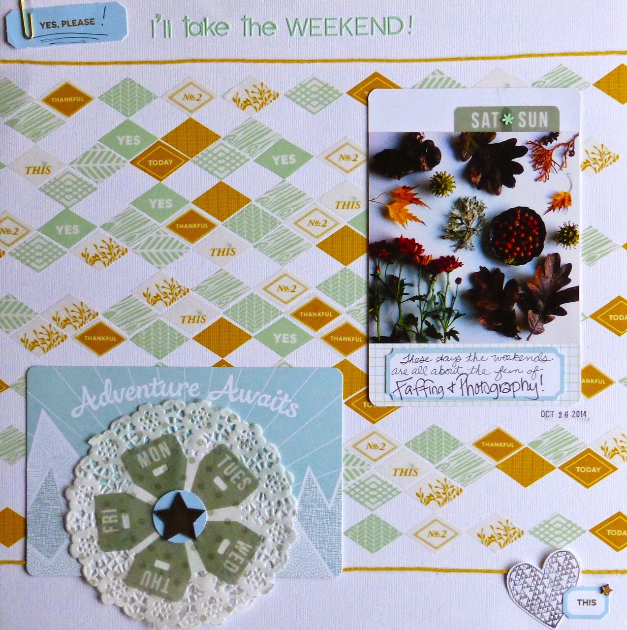 Studio Calico, Yes, Please I'll Take the Weekend!, journaling cards, faffing, photography, doily, Sun, Mon, Tues, Wed, Thu, Fri, Sat, Sun, heart stamp, this