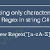 Replacing only characters using Regex in string C#