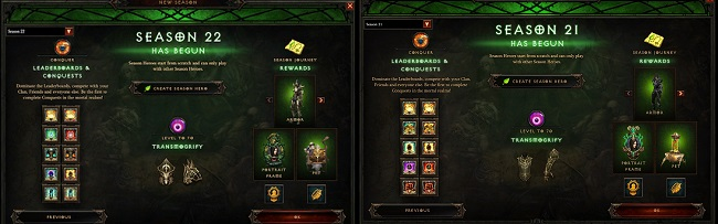 Comparison of Diablo 3 Season 22 vs Diablo 3 Season 21