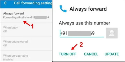 click call forward select option and click turn off