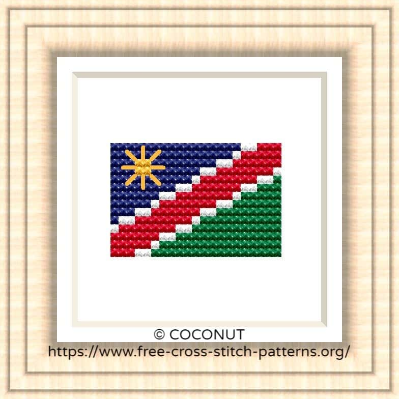NATIONAL FLAG OF NAMIBIA CROSS STITCH CHART