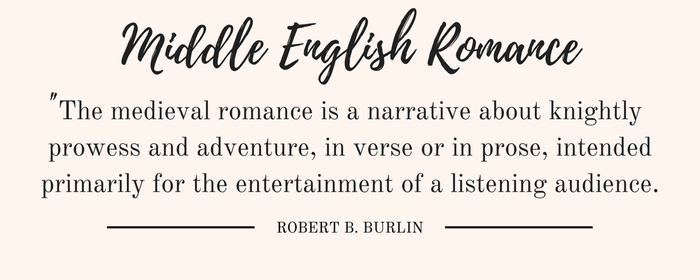 """Robert B. Burlin's Middle English Romance quote: """"The medieval romance is a narrative about knightly prowess and adventure, in verse or in prose, intended primarily for the entertainment of a listening audience."""""""