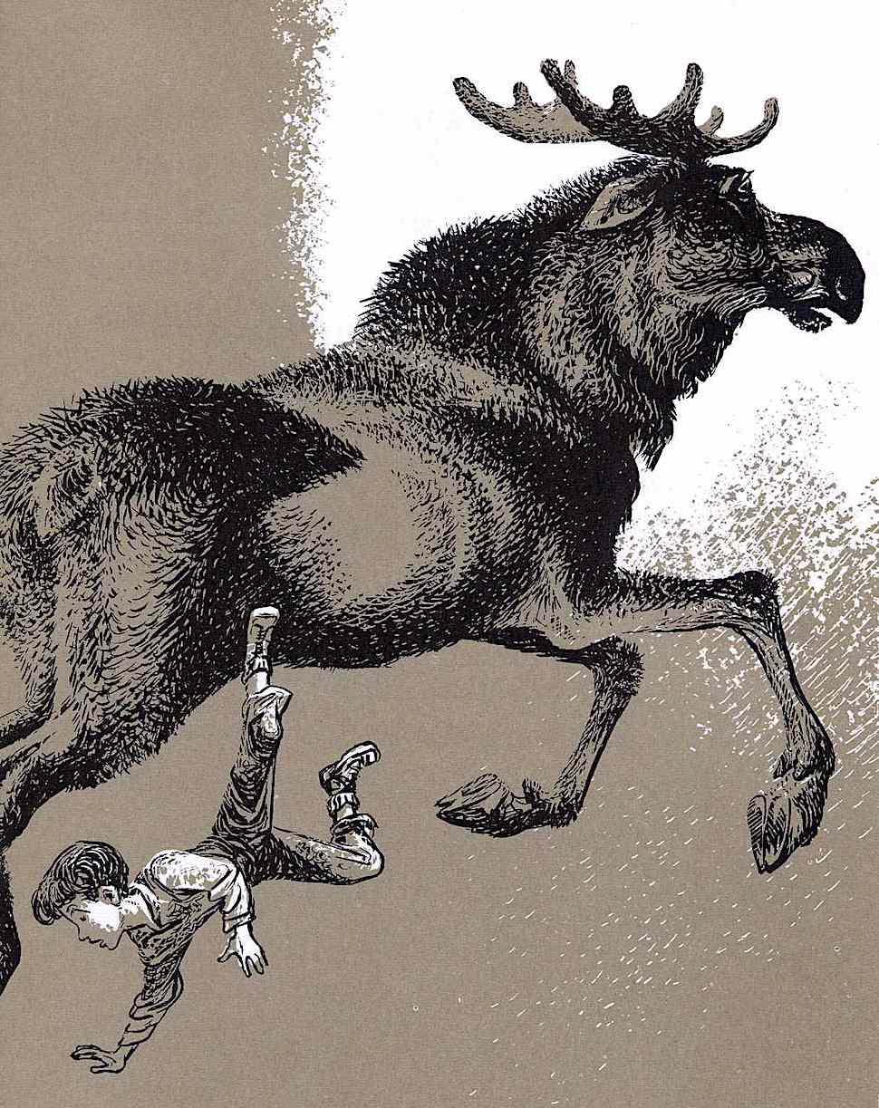 a Lynd Ward children's illustration of a boy and a moose in beige