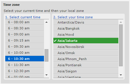 Select time zone on histats
