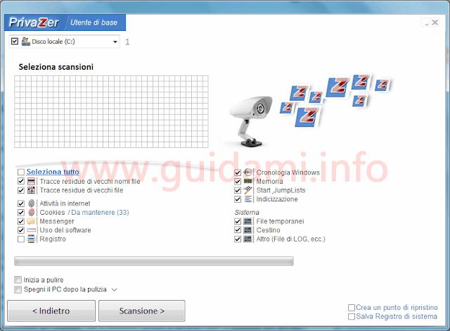PrivaZer interfaccia grafica