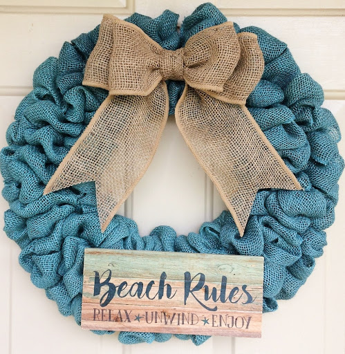 Beach Burlap Wreath with Quote Sign