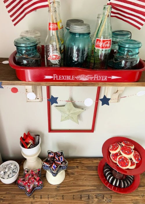 July 4th Dessert Bar - vintage 4th of july decorations - wagon tray